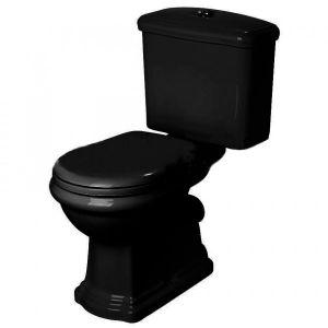 Унитаз-компакт Kerasan Retro с бачком и сиденьем Soft Close (слив в пол), чёрный глянцевый