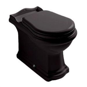 Унитаз напольный Kerasan Retro и сиденьем Soft Close (слив в пол), чёрный глянцевый