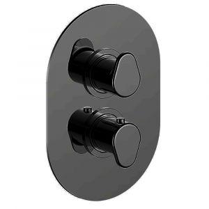 Смеситель для душа с термостатом, на 3 потребителя Cisal Lineaviva (цвет - чёрный матовый)