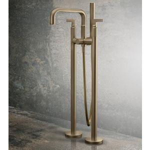 Смеситель для ванны напольный Gessi Inciso- (цвет - 727 brass brushed PVD), с душевым гарнитуром