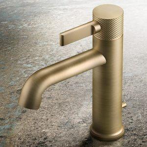 Смеситель для раковины Gessi Inciso- (цвет - 713 antique brass), с донным клапаном