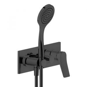 Смесителя для ванны настенный Gessi Rilievo (цвет - Black XL), с душевым гарнитуром