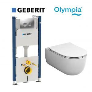 Инсталляция Geberit Duofix (4-в-1) комплект 458.161.21.1 с унитазом Olympia Milady MIL120201