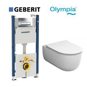 Инсталляция Geberit Duofix (4-в-1) комплект 458.178.21.1 с унитазом Olympia Milady MIL120201