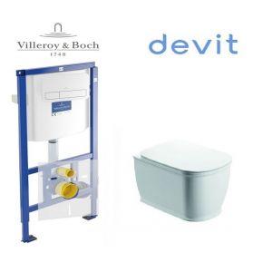 Инсталляция Villeroy & Boch ViConnect, клавиша хром,  комплект с унитазом Devit Afina с крышкой SoftClose