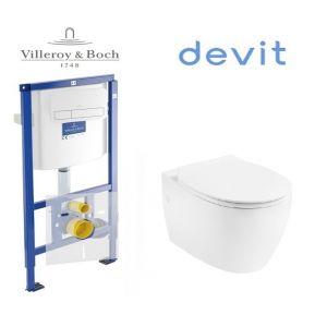 Инсталляция Villeroy & Boch ViConnect, клавиша хром,  комплект с унитазом Devit Acqua с крышкой SoftClose