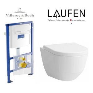 Инсталляция Villeroy & Boch ViConnect, клавиша хром с унитазом LAUFEN PRO Rimless  (без ободка) 8.2096.6.000.000.1 + (сиденье Soft Close)