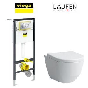 Инсталляция Viega Prevista Dry кнопка Style 20 с унитазом Laufen Pro + сиденье Soft Close Slim