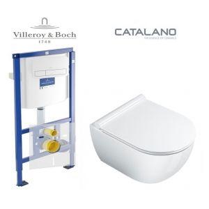 Инсталляция Villeroy & Boch ViConnect, клавиша хром,  комплект укороченый унитаз Catalano Sfera (без ободка) сиденье Soft Close Slim