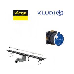 Трап с решеткой SR2 Viega Advantix Vario 30-120 см + cкрытая часть Kludi Flexx Boxx