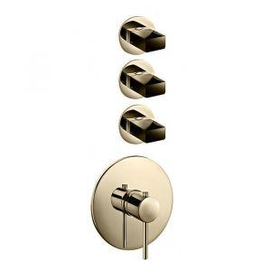 Термостат для душа Fantini Venezia на 3 потребителя (цвет - золото), в комплекте со скрытой частью