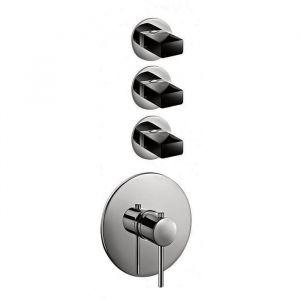Термостат для душа Fantini Venezia на 3 потребителя (цвет - Matt Gun Metal PVD), в комплекте со скрытой частью